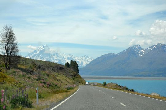 The road to Mount Cook/Aoraki National Park.